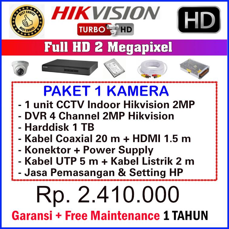paket cctv hikvision 2 mp 1 kamera