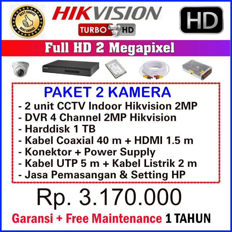 Paket CCTV Hikvision 2MP - 2 Kamera