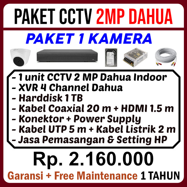 Paket 1 Kamera CCTV Dahua 2MP