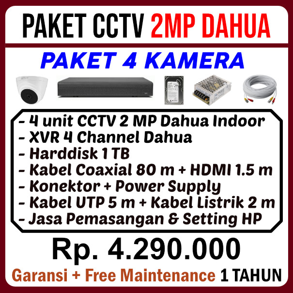 Paket 4 Kamera CCTV Dahua 2MP