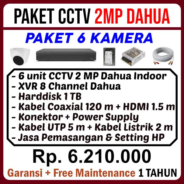 Paket 6 Kamera CCTV Dahua 2MP
